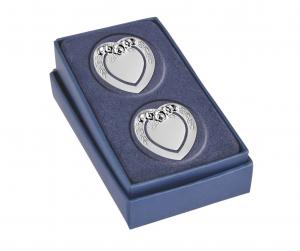 Segnalibro cuore silver plated con decoro set 2 pz