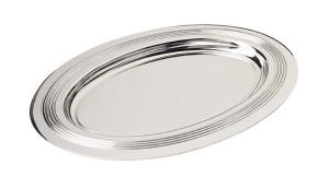 Piattino ovale rigato in silver plated stile Inglese