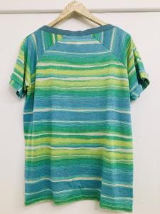 Maglia donna |rigata verde |rigata azzurro | mezza manica |tessuto lurex | Made in Italy