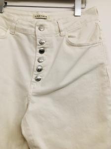 Jeans donna |bianco |con bottoni anteriori | modello buggy |Made in Italy