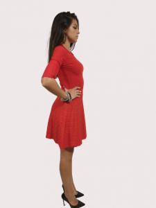 Vestito maglia stretch con motivo a cuori   colore rosso   Marca LOVE MOSCHINO