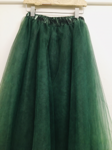 Gonna donna  gonna tulle verde bosco taglio assimmetrico  made in Italy