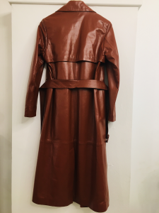 Trench donna| in pelle| cuoio| con cintura| manica lunga| made in Italy
