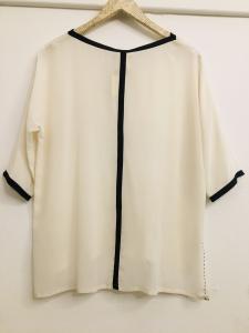 blusa donna  blusa bianca e nera  maniche corte  collo tondo  made in Italy