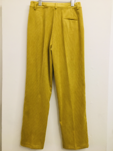Pantalone donna| in velluto millerighe| giallo| con tasche frontali|  made in Italy