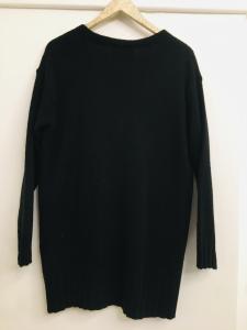 cardigan donna  nero  in lana  con bottoni  con tasche  manica lunga  made in Italy