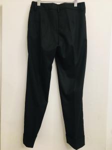 Pantalone donna| gessato| grigio scuro| con tasche frontali| con risvolti alla caviglia| made in Italy