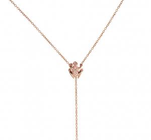 Anello Kissing Frog in oro rosa 18k e diamanti