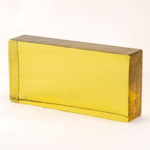 Blocco mattone in vetro di Murano giallo trasparente