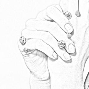 Anello doppia boule in oro bianco 18k e diamanti