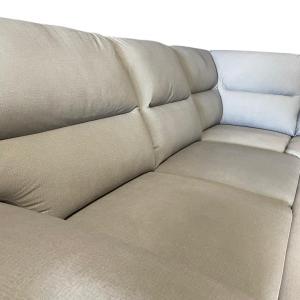 SOLANUM - Divano letto a carrello o cassettone con penisola rivestito in tessuto tecnico antimacchia e antigraffio