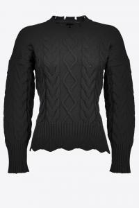 Maglione Chianti a maxi trecce nero Pinko