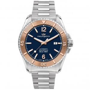 Philip Watch Amalfi Diving  Meccanico automatico, quadrante blu ghiera rose gold