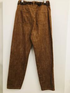 Pantalone donna| beige| in denim| con foulard in vita| con 5 tasche| made in Italy