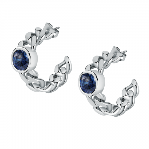 Chiara Ferragni Orecchini Chain, Cerchio Groumette Blue Crystal