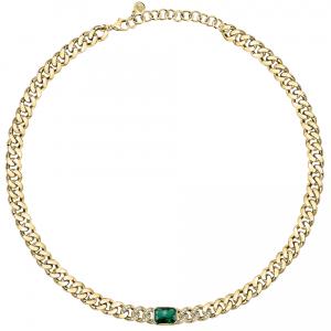 Chiara Ferragni Collana Chain, GroumettePvd Gold - Green Crystal
