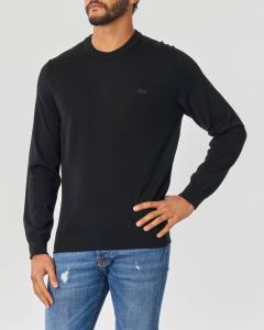 Maglioncino nero girocollo in pura lana merinos