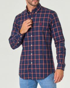 Camicia check blu e rossa con collo button down