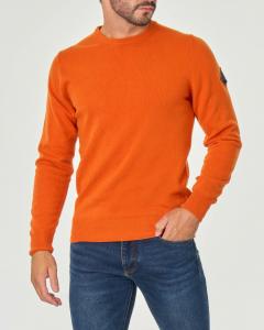Maglia arancione girocollo in misto lana e cachemire