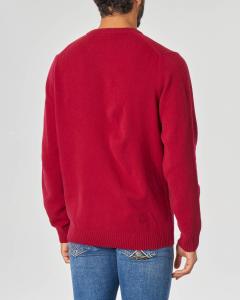 Maglia bordeaux girocollo in lambswool di pura lana