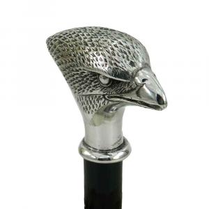 Bastone da passeggio elegante in legno con impugnatura in peltro falco