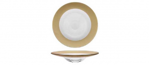 Piatto pasta in vetro con fascia oro metallizzato