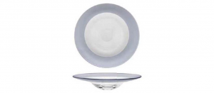 Piatto pasta in vetro con fascia argento metallizzato