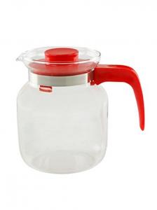 Brocca Teiera in vetro borosilicato con manico e coperchio rosso