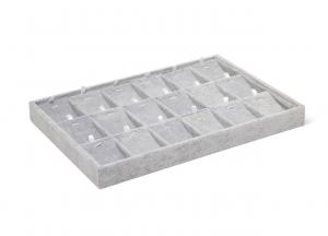 Espositore a cassetti per gioielli in velluto grigio