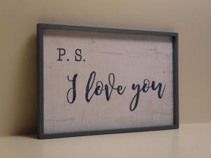 Pannello decorativo in legno bianco e blu I LOVE YOU con cornice stile Shabby Chic