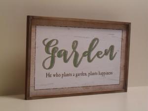 Pannello decorativo GARDEN bianco e verde in legno con cornice stile Shabby Chic