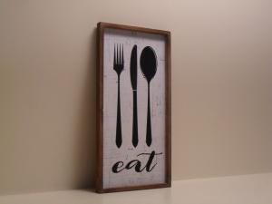 Pannello decorativo in legno EAT con cornice stile Shabby Chic