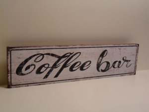 Pannello Decorativo bianco COFFEE BAR in legno stile Shabby Chic