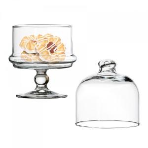 Mini alzata pasticceria per dolci in vetro con cupola in vetro
