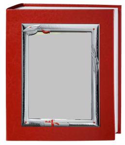 Album rosso in ecopelle 30x35 laurea cornice satinata in argento 18x24 decorata papiro