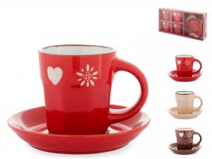 Confezione 4 Tazze Caffe' In Stoneware Chalet Con Piatto Cc8