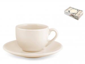 H&h Aurelie Set 6 Tazzine Caffè Con Piattino Ceramica Avorio