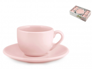 H&h Set 6 Tazze Caffe Con Piattino Ceramica Eloise Rosa Cc10