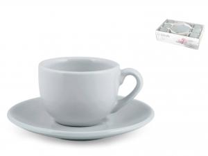 H&h Confezione 6 Caffè Con Piattino Ceramica Gabriell Azzurr