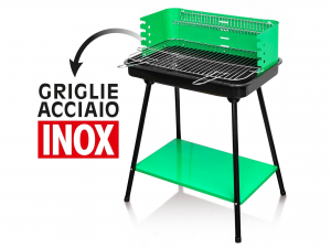Barbecue Rettangolare A Carbone Con Ripiano E Griglia In Acc
