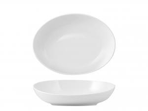 Coppa Ovale In Porcellana, 25x18 Cm, Bianco