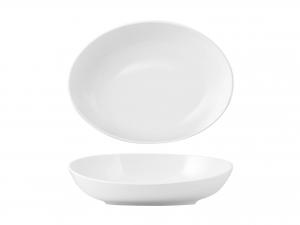Coppa Ovale In Porcellana, 40x30 Cm, Bianco