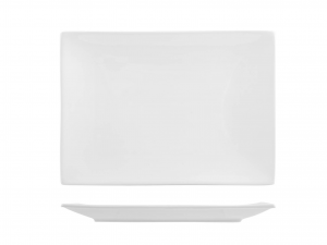 Piatto In Porcellana Bianco Rettangolare Cm21x30