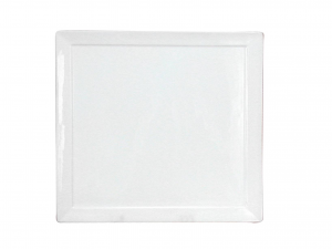 Piatto In Porcellana Bianco Quadro C/brd 24  Hp3528