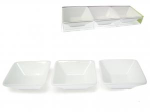 Set 3 Antipastiera Porcellana Bianco Quadr10